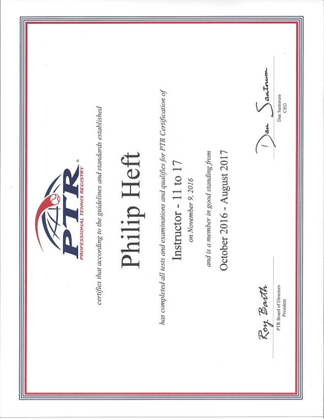 Ptr Certificate Of Instructor 11 17 Yr Olds