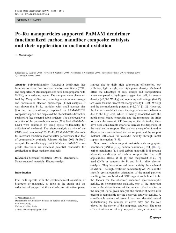 J Solid State Electrochem (2009) 13:1561–1566DOI 10.1007/s10008-008-0730-0 ORIGINAL PAPERPt–Ru nanoparticles supported PAM...