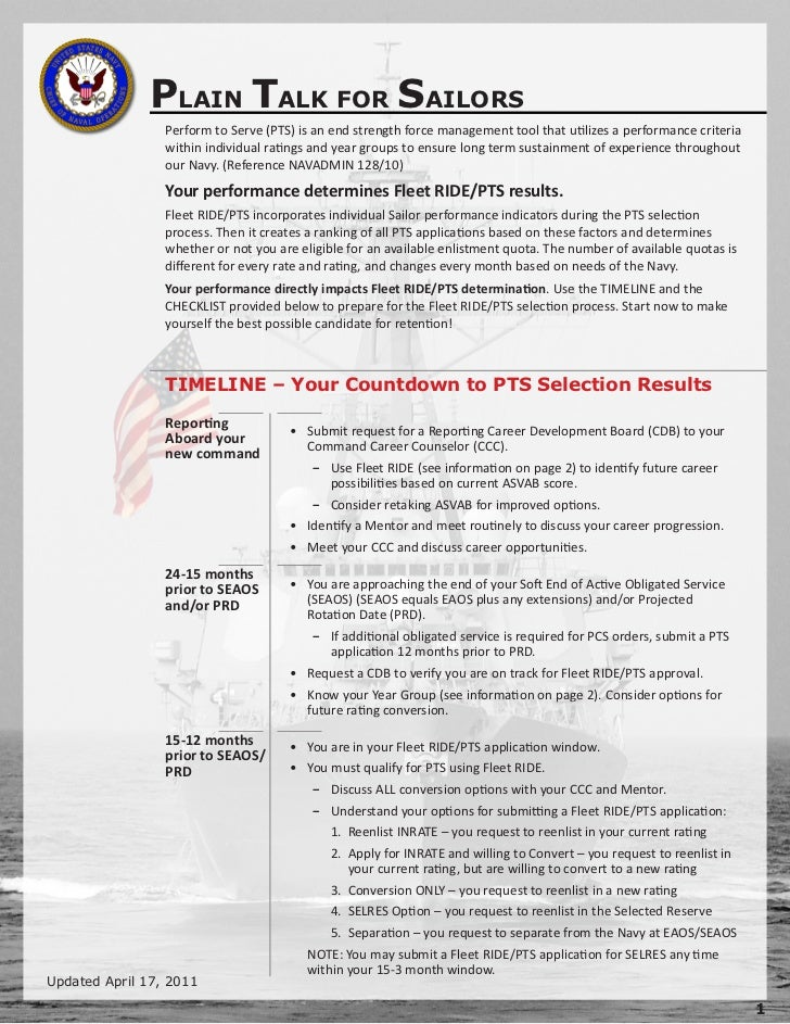 PLAIN TALK FOR SAILORS                 Perform to Serve (PTS) is an end strength force management tool that utilizes a per...