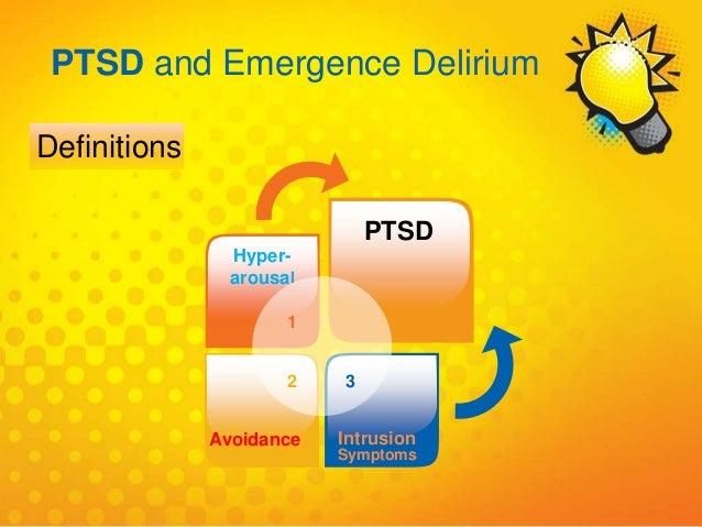 1 Hyper- arousal PTSD 2 Avoidance 3 Intrusion Symptoms PTSD and Emergence Delirium Definitions