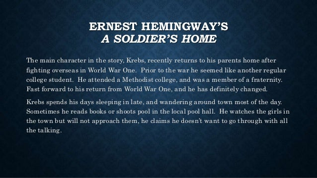 Ptsd In Ernest Hemngway S Soldier S Home