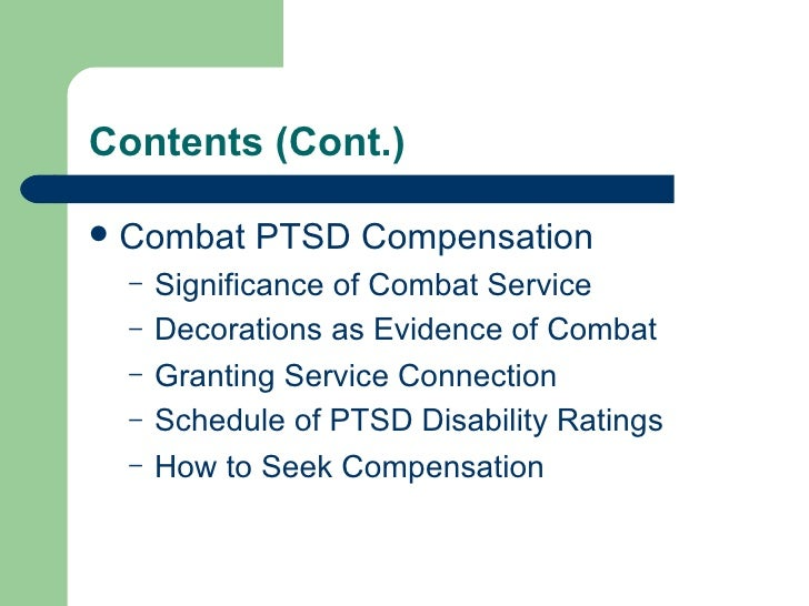 Department of Veterans Affairs - VA - Combat Post-Traumatic