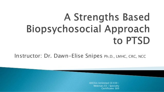 Instructor: Dr. Dawn-Elise Snipes Ph.D., LMHC, CRC, NCC AllCEUs Unlimited CE $59 | Webinars $5 | Specialty Certificates $89