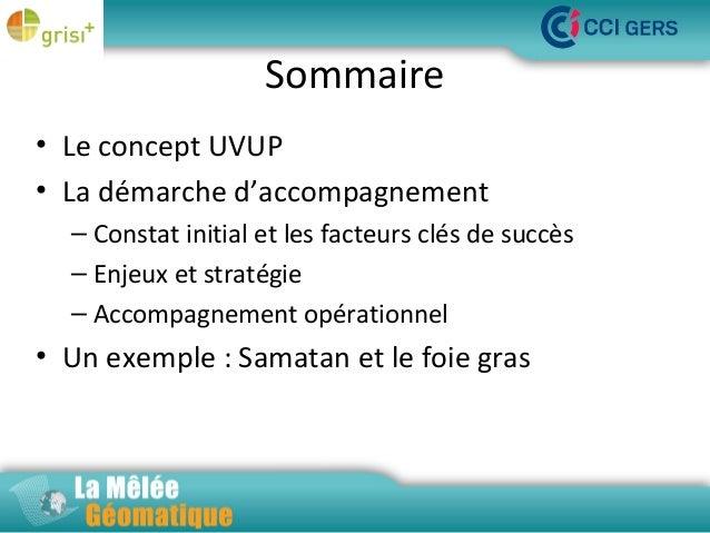 Sommaire • Le concept UVUP La Mêlée Géomatique • La démarche d'accompagnement – Constat initial et les facteurs clés de su...