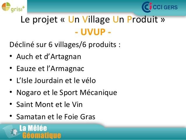 Le projet « Un Village Un Produit » - UVUP -  La Décliné sur 6 villages/6 produits : Mêlée Géomatique • Auch et d'Artagnan...