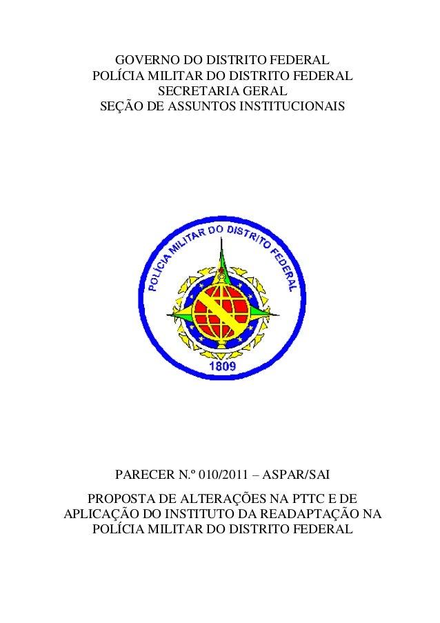GOVERNO DO DISTRITO FEDERAL   POLÍCIA MILITAR DO DISTRITO FEDERAL            SECRETARIA GERAL    SEÇÃO DE ASSUNTOS INSTITU...