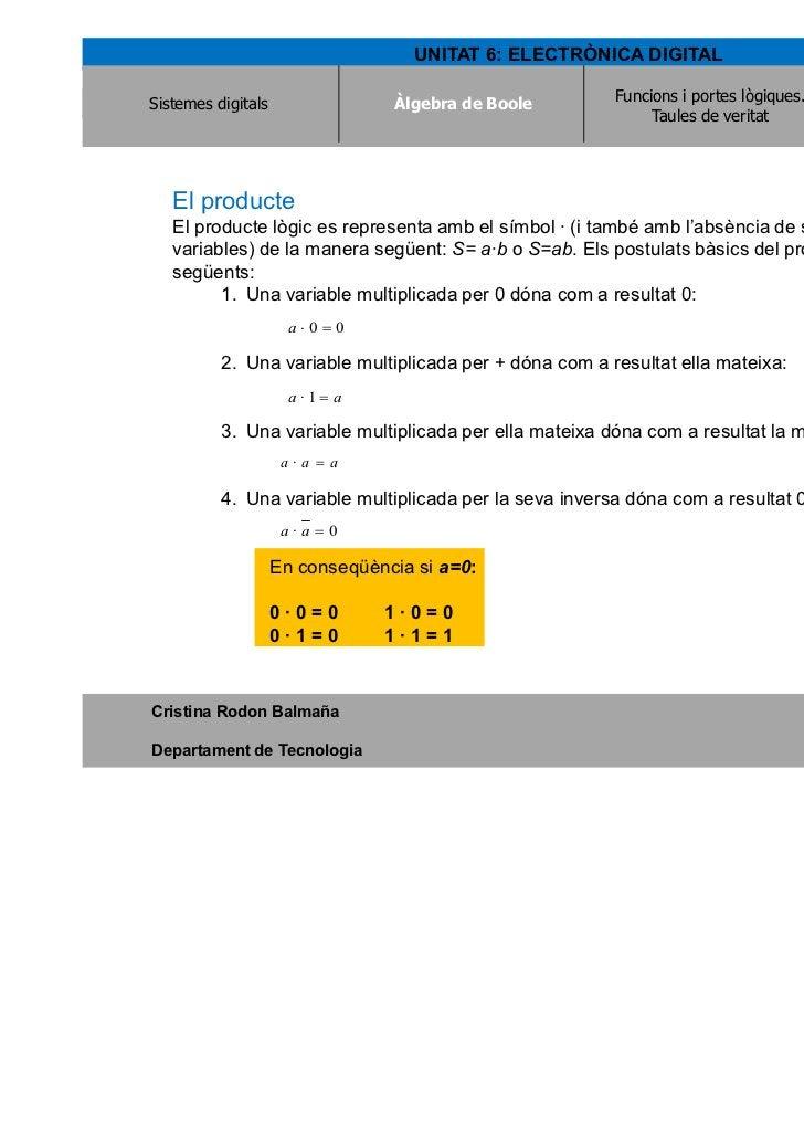 UNITAT 6: ELECTRÒNICA DIGITALSistemes digitals                Àlgebra de Boole                                   Àlgebra d...
