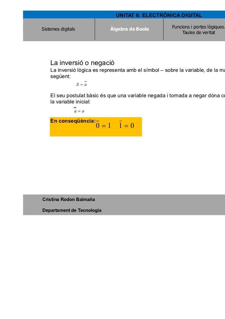 UNITAT 6: ELECTRÒNICA DIGITALSistemes digitals             Àlgebra de Boole                                Àlgebra de Bool...