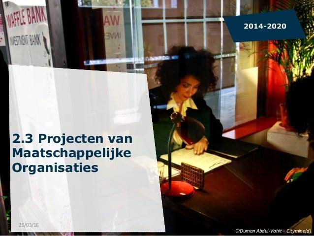 2.3 Projecten van Maatschappelijke Organisaties    2014-2020 ©Duman  Abdul-‐Vahit  –  Citymine(d)   29/03/16