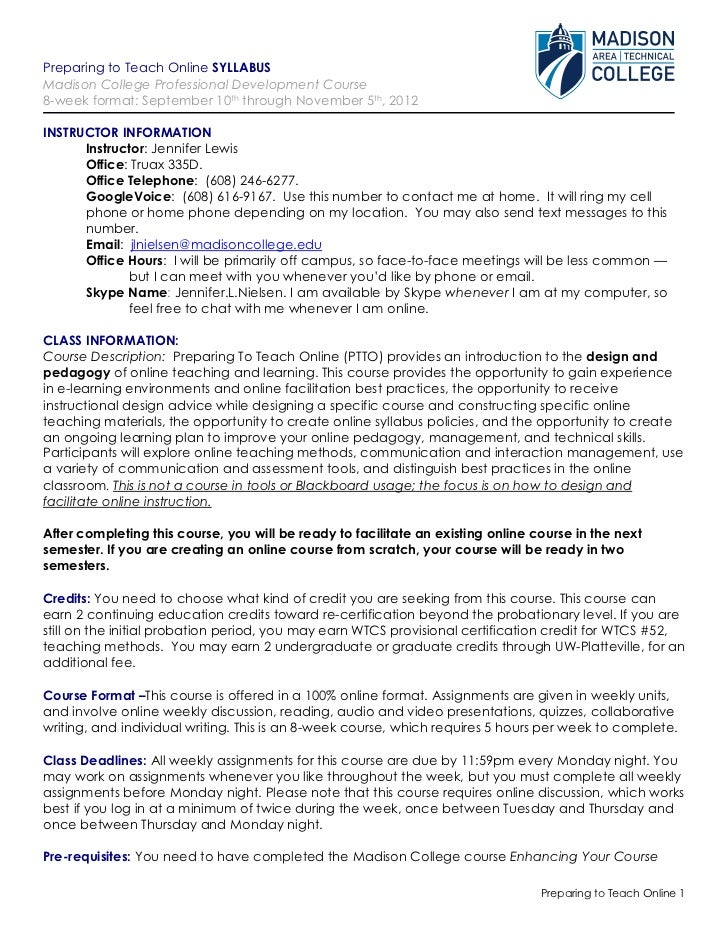 PTTO Syllabus, Fall 2012