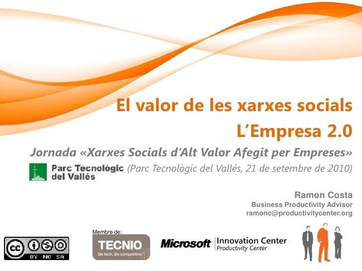 El valor de les xarxes socials                                  L'Empresa 2.0 Jornada «Xarxes Socials d'Alt Valor Afegit p...