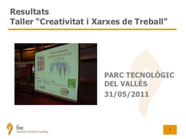"""Resultats  Taller """"Creativitat i Xarxes de Treball"""" PARC TECNOLÒGIC DEL VALLÈS 31/05/2011"""