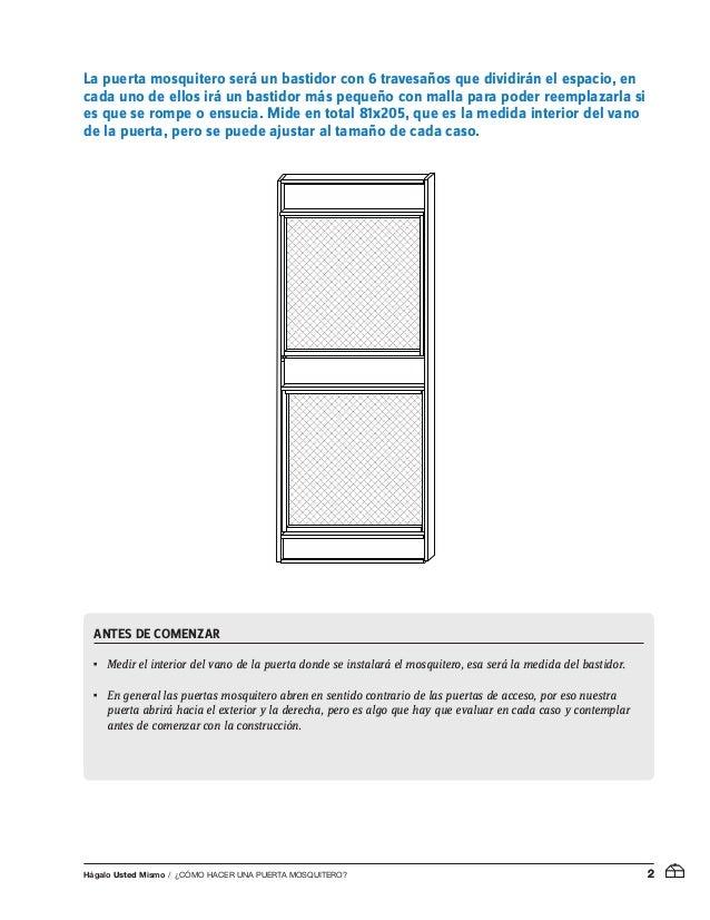 Pu is01 cmo hacer una puerta mosquitero for Materiales para hacer una puerta