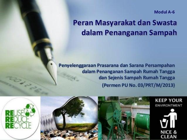 Peran Masyarakat dan Swasta dalam Penanganan Sampah Penyelenggaraan Prasarana dan Sarana Persampahan dalam Penanganan Samp...