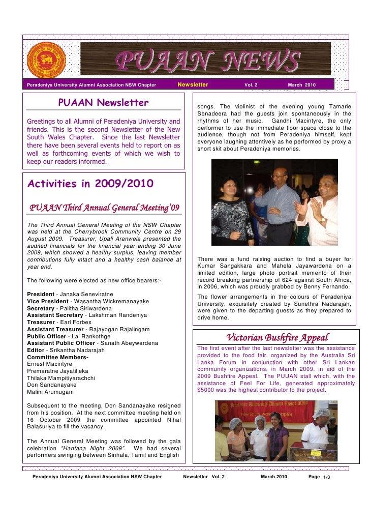 PUAAN NEWS Peradeniya University Alumni Association NSW Chapter     Newsletter                Vol. 2                March ...