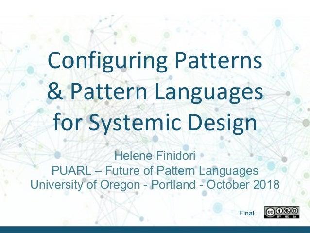Helene Finidori – PUARL 2018 - October 2018Helene Finidori – Puarl 2018 - October 2018 Configuring Patterns & Pattern Lang...