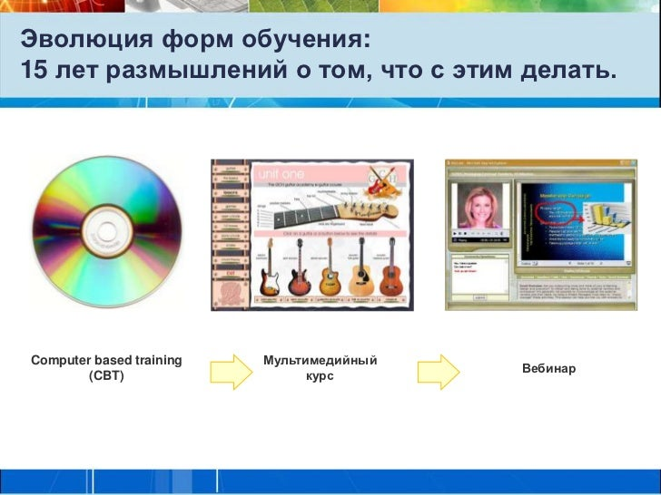 Эволюция форм обучения:15 лет размышлений о том, что с этим делать.Computer based training   Мультимедийный               ...