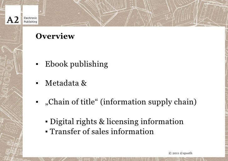 Current developments in setting standards for rights & licensing and sales metadata Slide 2