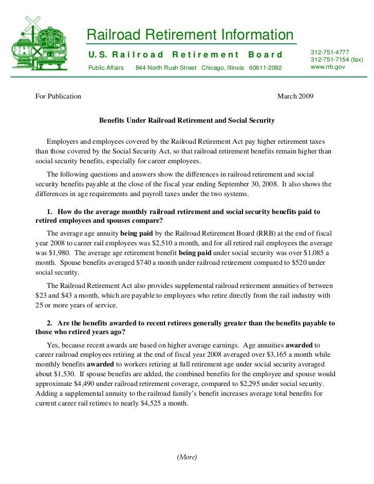 Railroad Retirement Information                  U. S. R a i l r o a d        Retirement                Board             ...