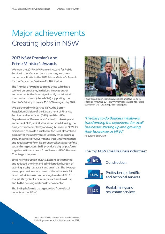 NSW Small Business Commissioner - 2017 Annual Report