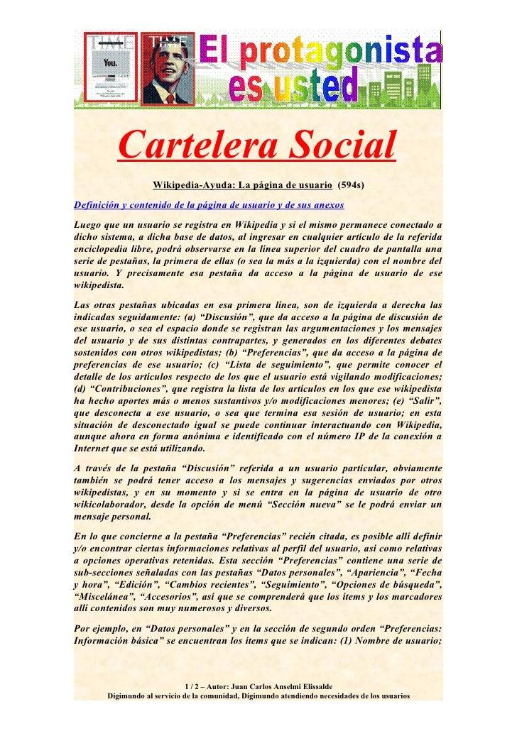 Cartelera Social                     Wikipedia-Ayuda: La página de usuario (594s) Definición y contenido de la página de u...