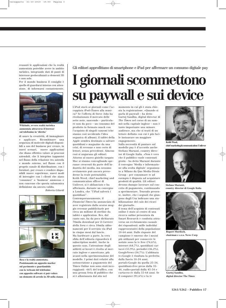 terzaparte   21-10-2010     15:50    Pagina 3      ressanti le applicazioni che la realtà      aumentata potrebbe avere in...