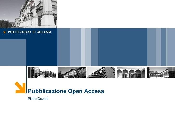 Pubblicazione Open Access Pietro Gozetti