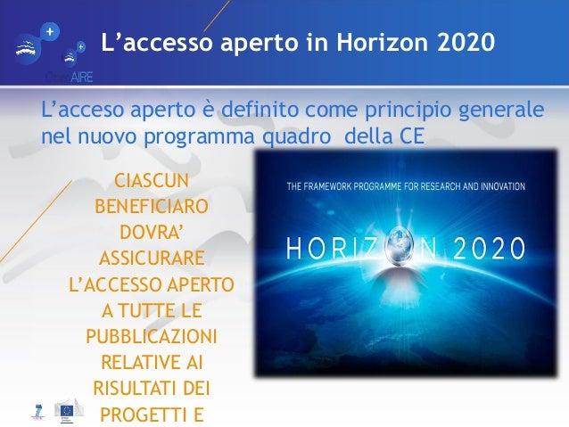 L'accesso aperto in Horizon 2020 CIASCUN BENEFICIARO DOVRA' ASSICURARE L'ACCESSO APERTO A TUTTE LE PUBBLICAZIONI RELATIVE ...