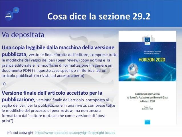 Cosa dice la sezione 29.2 Va depositata Una copia leggibile dalla macchina della versione pubblicata, versione finale forn...