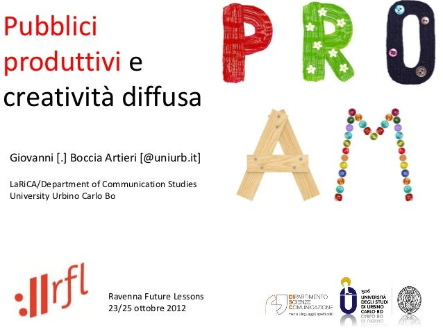 Pubbliciproduttivi ecreatività diffusaGiovanni [.] Boccia Artieri [@uniurb.it]LaRiCA/Department of Communication StudiesUn...