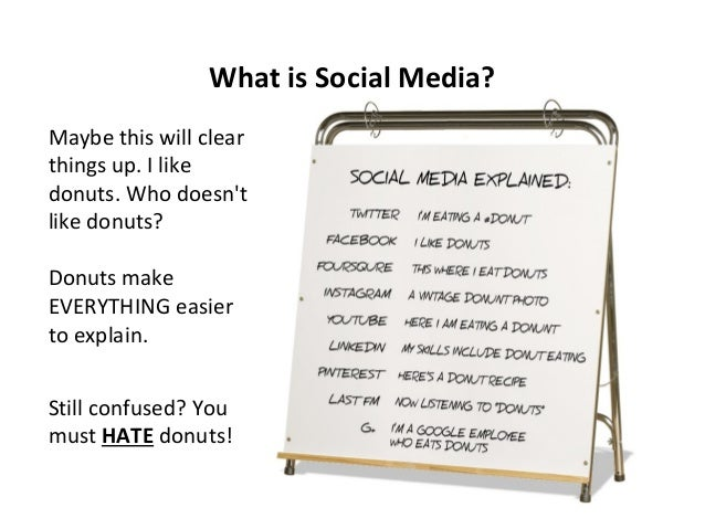 What is Social Media? Maybe this will clear things up. I like donuts. Who doesn't like donuts? Donuts make EVERYTHING easi...