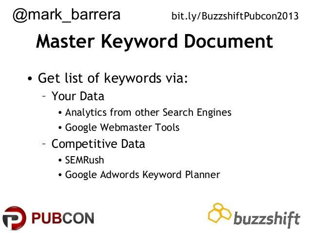 @mark_barrera  bit.ly/BuzzshiftPubcon2013  Master Keyword Document • Get list of keywords via: – Your Data • Analytics fro...