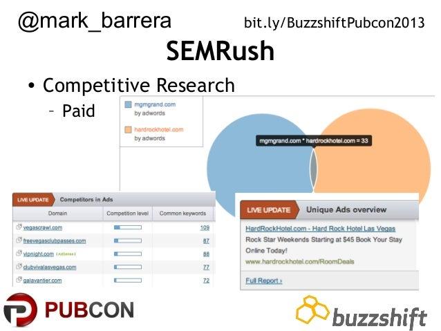 @mark_barrera  bit.ly/BuzzshiftPubcon2013  SEMRush • Competitive Research – Paid