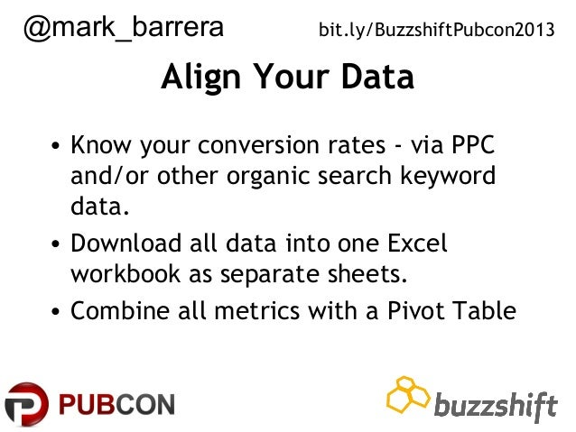 @mark_barrera  bit.ly/BuzzshiftPubcon2013  Align Your Data • Know your conversion rates - via PPC and/or other organic sea...