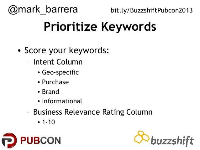 @mark_barrera  bit.ly/BuzzshiftPubcon2013  Prioritize Keywords • Score your keywords: – Intent Column • Geo-specific • Pur...