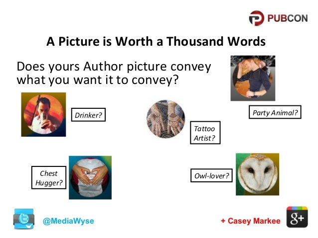 A Picture is Worth a Thousand Words Does yours Author picture convey what you want it to convey? Party Animal?  Drinker? T...