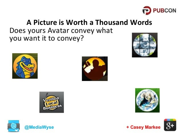 A Picture is Worth a Thousand Words Does yours Avatar convey what you want it to convey?  @MediaWyse  + Casey Markee