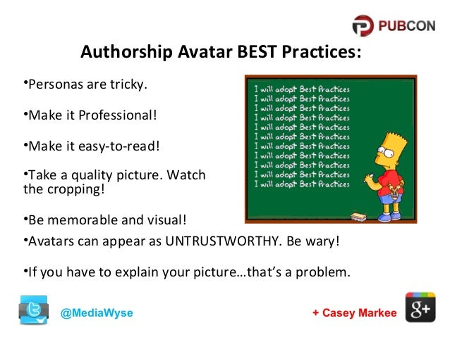Authorship Avatar BEST Practices: •Personas are tricky. •Make it Professional! •Make it easy-to-read! •Take a quality pict...