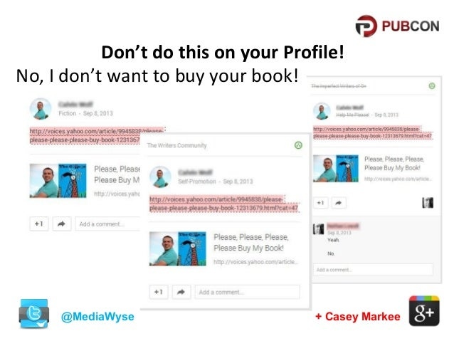 Don't do this on your Profile! No, I don't want to buy your book!  @MediaWyse  + Casey Markee