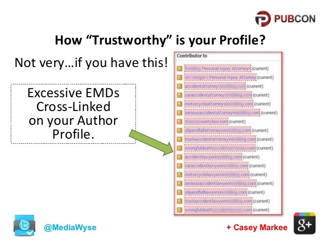 """How """"Trustworthy"""" is your Profile? Not very…if you have this! Excessive EMDs Cross-Linked on your Author Profile.  @MediaW..."""