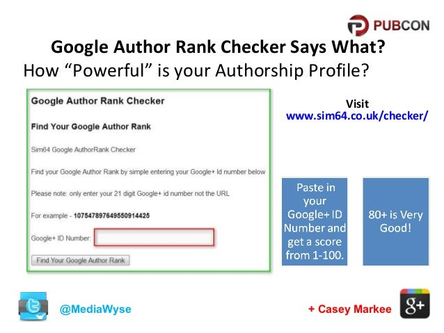 """Google Author Rank Checker Says What? How """"Powerful"""" is your Authorship Profile? Visit www.sim64.co.uk/checker/  @MediaWys..."""