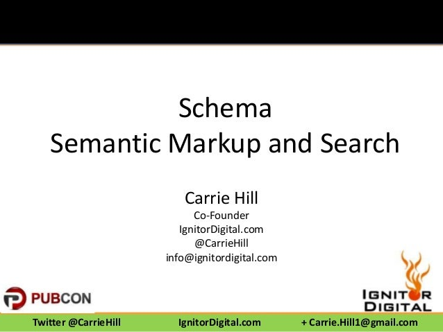 Schema Semantic Markup and Search Carrie Hill Co-Founder IgnitorDigital.com @CarrieHill info@ignitordigital.com  Twitter @...