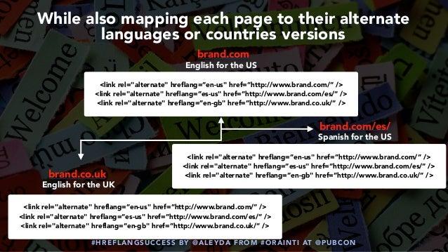 "#HREFLANGSUCCESS BY @ALEYDA FROM #ORAINTI AT @PUBCON <link rel=""alternate"" hreflang=""en-us"" href=""http://www.brand.com/"" /..."