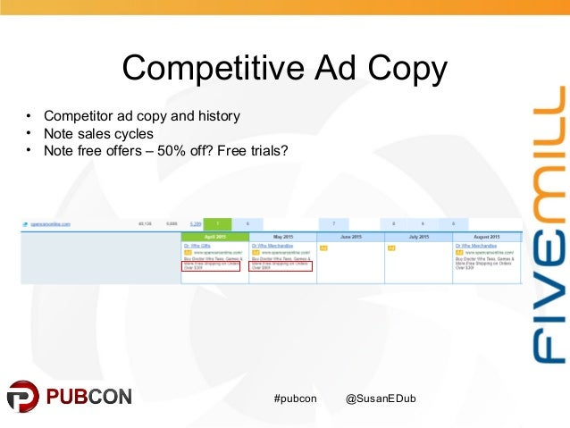Competitive Ad Copy #pubcon @SusanEDub • Competitor ad copy and history • Note sales cycles • Note free offers – 50% off? ...