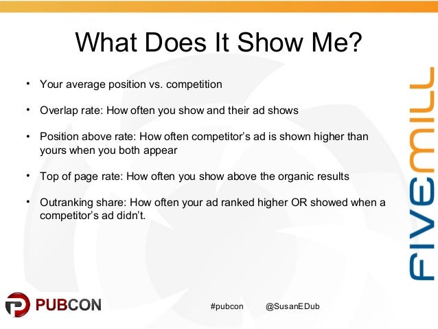 What Does It Show Me? #pubcon @SusanEDub • Your average position vs. competition • Overlap rate: How often you show and th...
