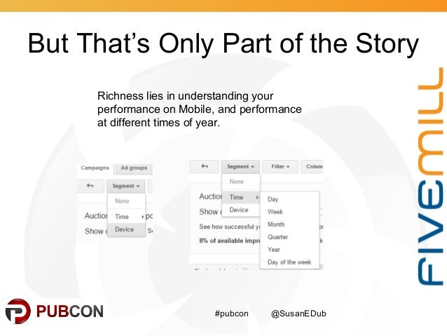 But That's Only Part of the Story #pubcon @SusanEDub Richness lies in understanding your performance on Mobile, and perfor...