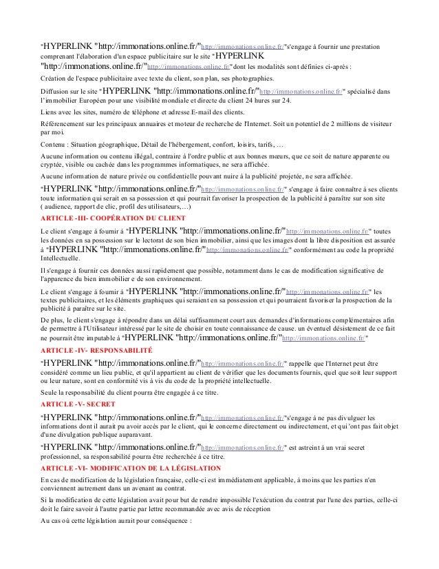"""HYPERLINK ""http://immonations.online.fr/""http://immonations.online.fr/""s'engage à fournir une prestation comprenant l'éla..."