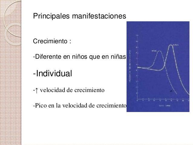 Principales manifestaciones Crecimiento : -Diferente en niños que en niñas -Individual -↑ velocidad de crecimiento -Pico e...