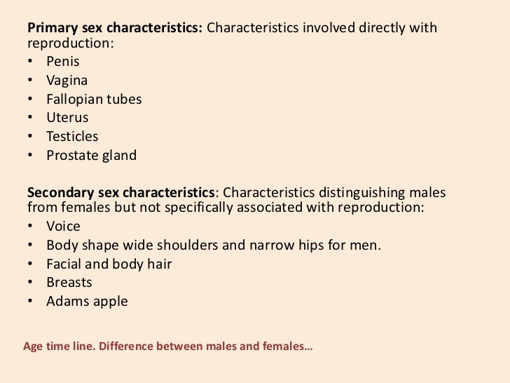 Primary and secondary sex characteristics