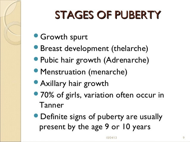 stages of puberty in order